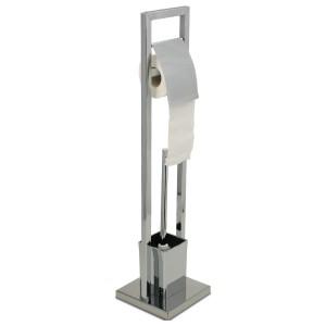 Portarrollos Escobillero Metal Cromado, Escobillero Baño Portarrollos de Pie 75x18x18 cm