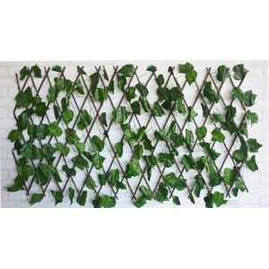 Jardin Vertical, celosia extensible hiedra artificial con estructura de madera Natural para Decoración realista.