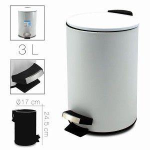 Trash Metal White Trash can for office, bathroom with a Lid and foot Pedal. Capacity of 3 Litres. 17x24,5cm - Home and More