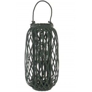 Candle holder Green Decorative Wicker and Glass Candle holder Original Decoration 30x30x60 cm