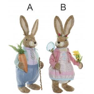 Conejo FIgura de Jardín Fibra, Decoración de Exterior. Figuras Decorativas Conejo Jardín 27x20x76 cm
