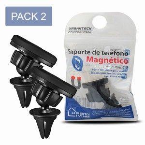 Soporte Móvil Magnético para Coche, PACK de 2 Soportes Giratorios Teléfono Universal para Rejilla - Hogar y Más