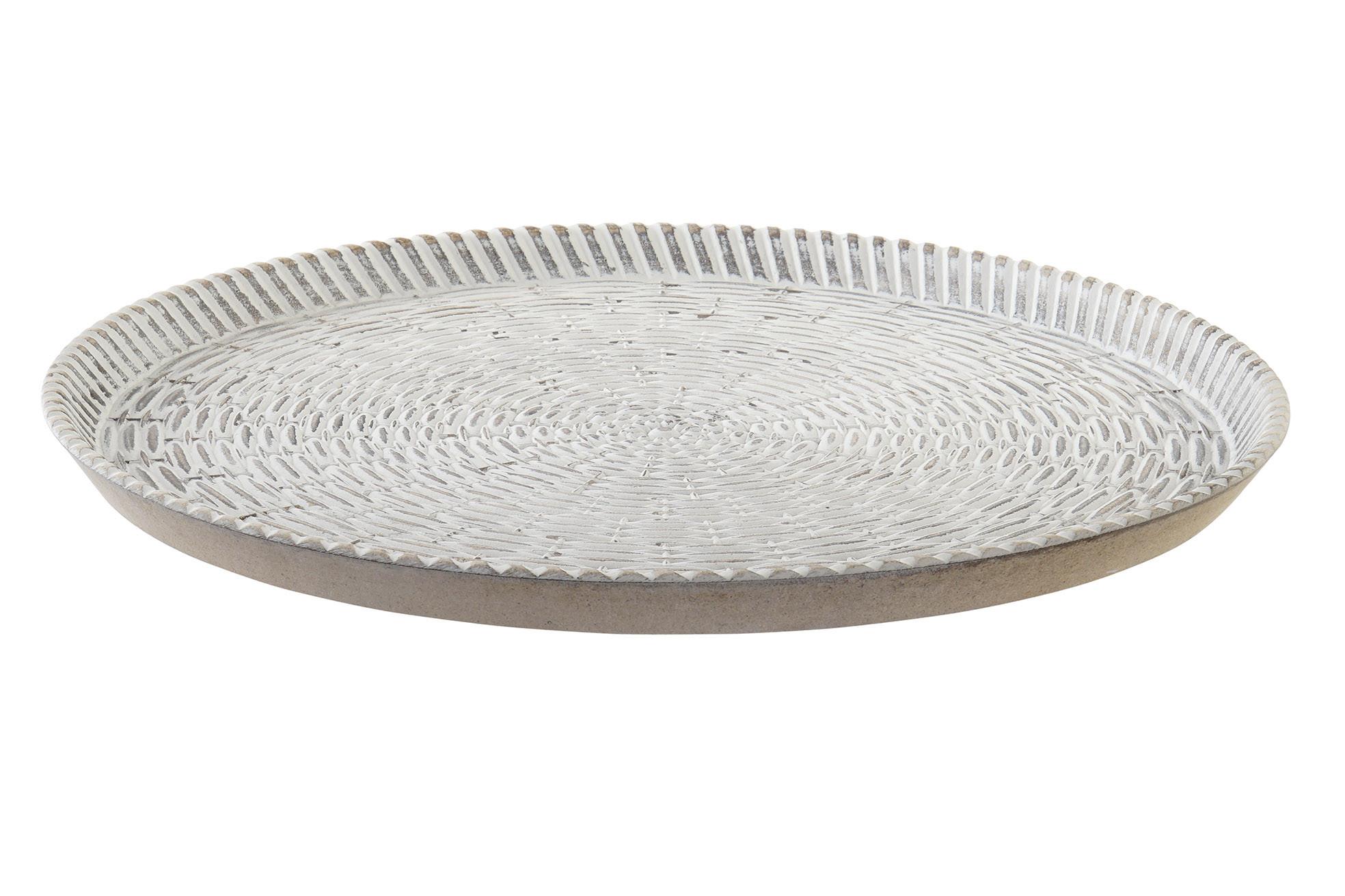 Center Table, Decorative Wooden Tray round White Interior Decoration Original/Elegante39x39x2,5 cm - Home and More