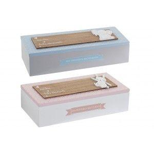 """Caja de Madera Decorativa Infantil """"Mis primeros recuerdos""""  Decoración para Niños, Caja de Almacenamiento 24x8x6,5 cm"""