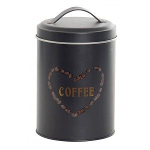 Coffee Black Metallic Box 1630 ML. Canisters Coffee Kitchen, Container for Food 10,9X10,9X17,8cm - Home and More