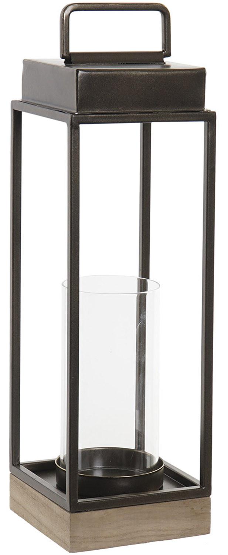 Portavelas Negro Decorativo de Metal y Cristal, Portavelas Originales, Decoración Interior/Exterior 11,5x11,5x39cm - Hogar y Mas