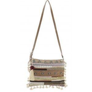 Bag Ethnic Women Jute with Adjustable Handle and pom-Poms, Bags, Original Beige color, with Internal Pocket 31,2X2X23 cm