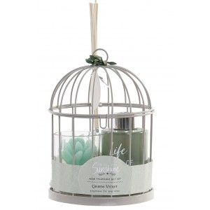 Aroma diffuser in Metal cage 60 ML, Set Candle + Diffuser with Rods. Scented candles 13X13X19 cm