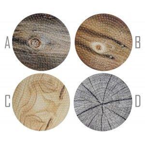 Salvamantel Individual Circular, realizado en Dolomite. Diseño de Madera, estilo Moderno/Elegante. Cuatro modelos. 20x0.8cm.