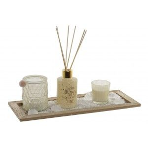 Diffuser Aromas of Rods 80 ml + 2 Scented Candles Wax + Stones Scented with Sand + Wooden Support 37X9X15 cm