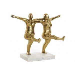 Personas Bailando Figura Dorada Decorativa, Figura de Aluminio y Mármol Decoración Original 29X13X24 cm
