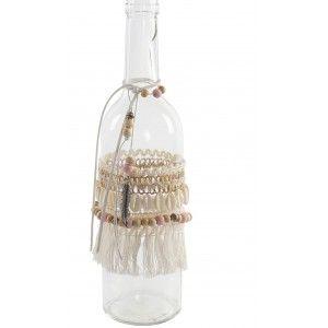Botella Cristal Transparente Decorativa, Decoración Étnica para Interior. Botellas Decorativas Originales 9X9X30 cm