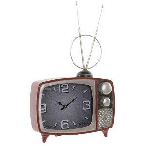 Reloj Sobremesa Televisión Vintage Decorativo, Reloj Sobremesa Metal. Diseño Vintage/Elegante 30X10X48cm - Hogar y Más
