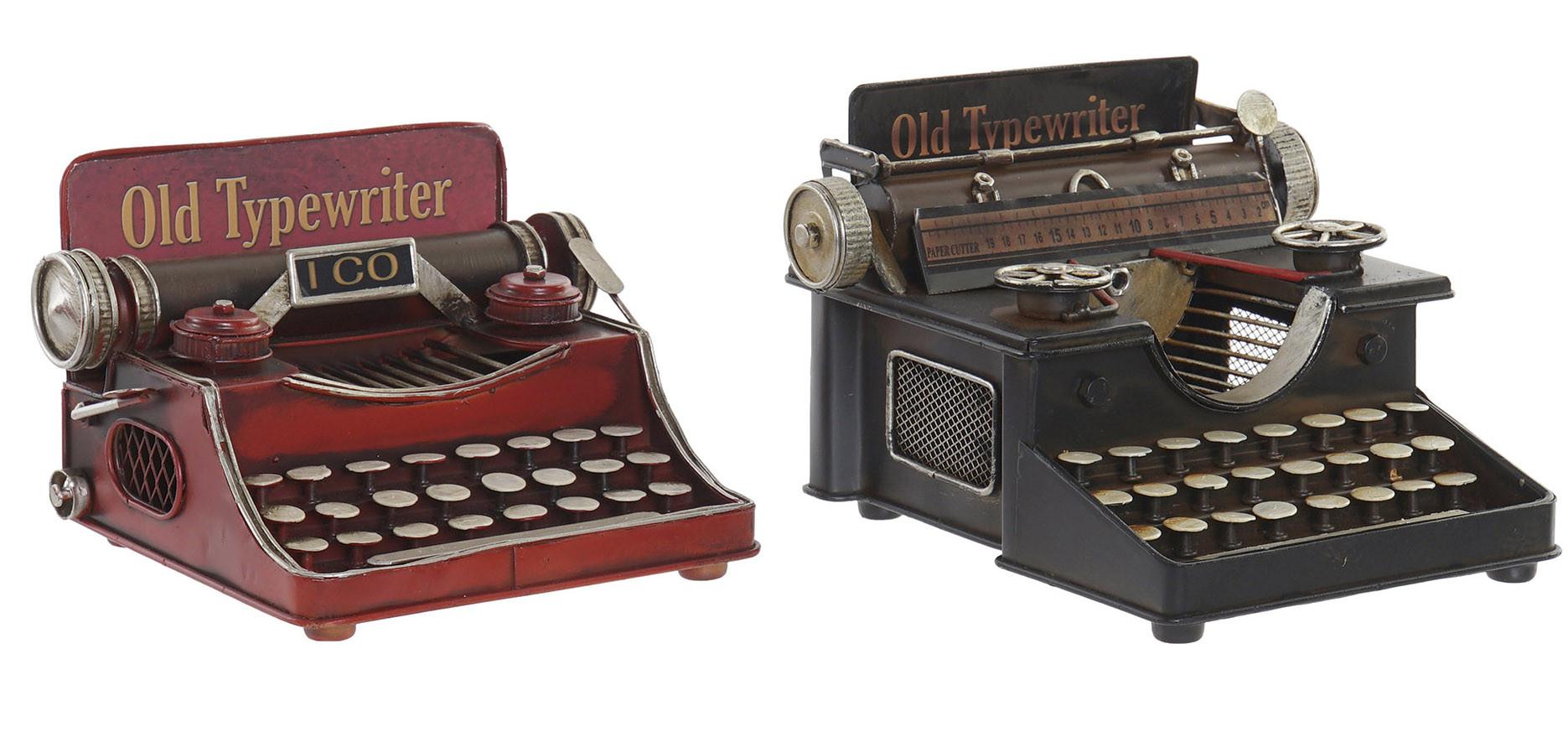 Máquina de Escribir Metal Antigua, Figuras Decorativas Vintage. Decoración Máquina Escribir Figura 17X17X13 cm
