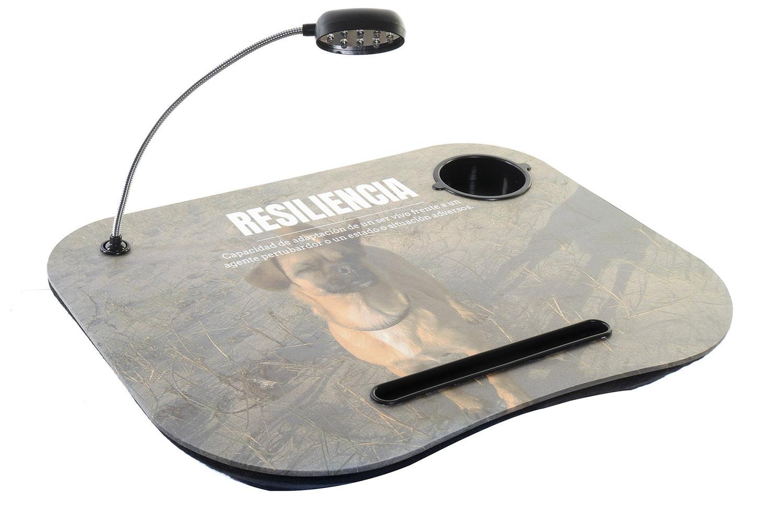 Bandeja de Ordenador Acolchada y Práctica, Marron, con diseño de RESILENCIA, Incluye  Lampara Led 48x38x7cm - Hogar y Más