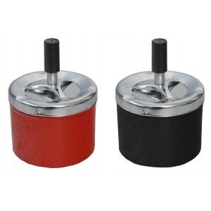 Ashtray Rotating Round in Set of 2, Red and Black, Ashtray Pressure Cigarette ø9 x 12 cm