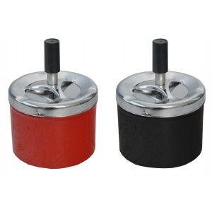 Cenicero Giratorio Redondo en Set de 2, Rojo y Negro, Cenicero de Presión Cigarrillo  ø9 x 12 cm
