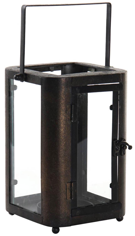 Portavelas Negro Decorativo de Metal y Cristal, Portavelas Originales, Decoración Interior/Exterior 18,5x18,5x23cm - Hogar y Más