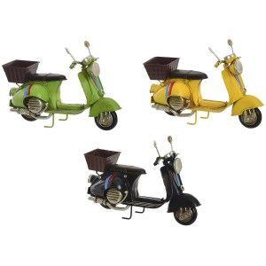Moto con Cesta Decoración Vintage, Figura Decorativa de Metal. Diseño Antiguo/Realista 17x7X11,5cm - Hogar y Más