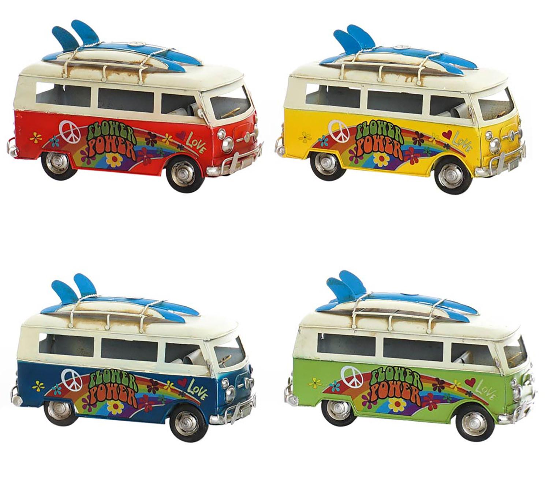 Vehículo Hippie Vintage, Figura Vehiculo Decorativo de Metal. Diseño Hippie Flower Power 25X12X15 cm - Hogar y Más