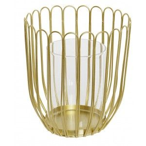 Porta candles in Glass with Structure in Metal Holders candles Decorative Gold. Support Brilliant for Sailing 12X14,5 cm