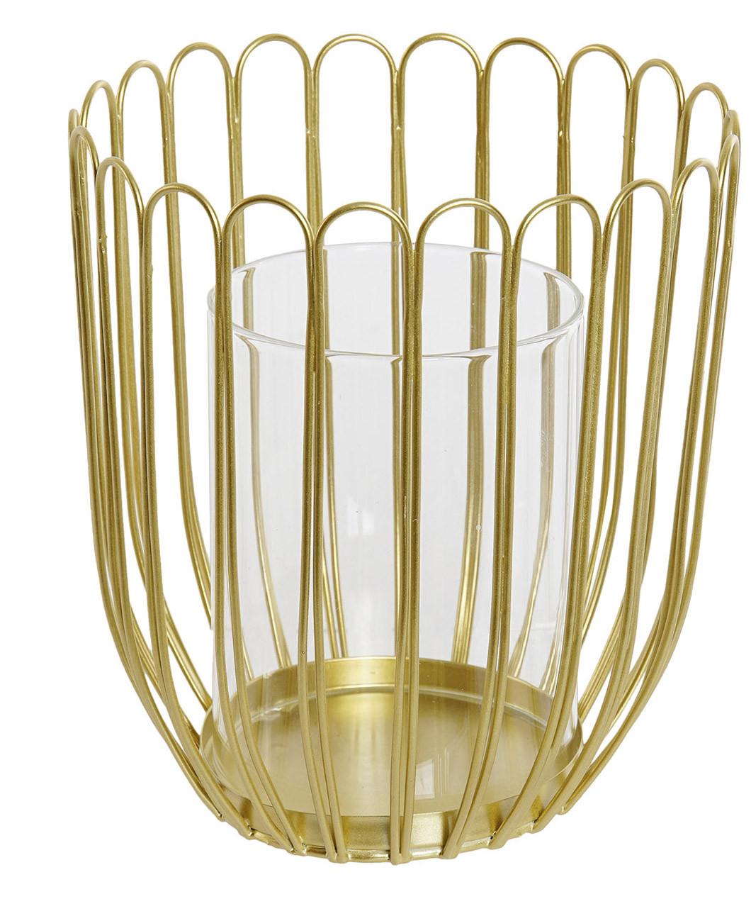 Porta velas de Cristal con Estructura Metálica, Porta velas Decorativo Dorado. Soporte Brillante para Vela  12X14,5 cm