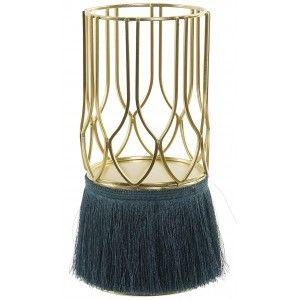 Porta velas con Estructura Metálica y Flecos, Porta velas Decorativo Dorado. Soporte Metal para Vela  11,5X11,5X26 cm