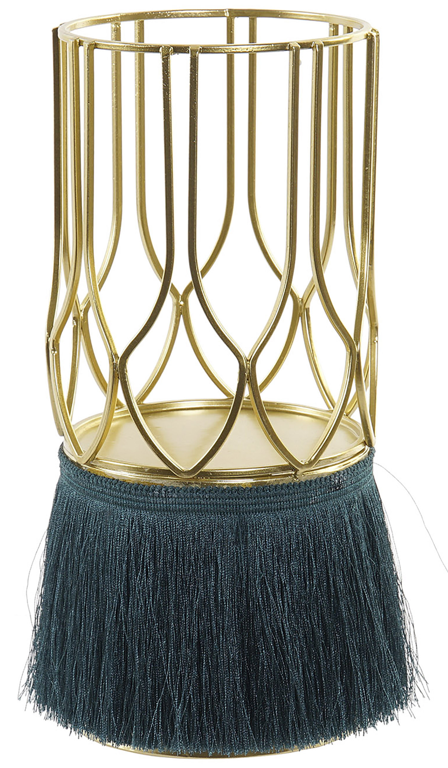 Porta candles with Metal Structure and Fringe, Porta candles Decorative Gold. Support Metal to Candle 11,5X11,5X26 cm