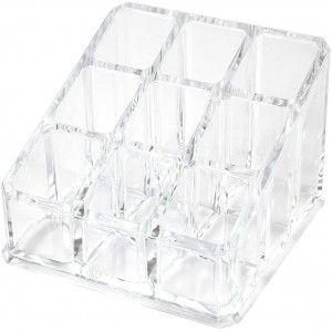 Organizador de Maquillaje Transparente, Soporte para Cosméticos Metacrilato 8,5x6x8,5 cm