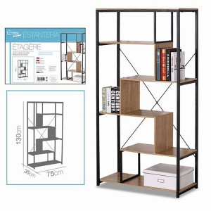 Bookcase/Library of Wood and Metal, Library, 5 Levels, Shelf for Living Room, Color Natural Wood 74x34x130,5cm