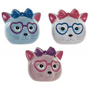 Piggy bank Cat with Glasses, a piggy Bank of Dolomite for Children. Piggy banks, Children's Original, Figure of Cat piggy Bank