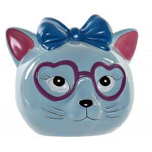 Piggy bank Cat with Glasses, a piggy Bank of Dolomite for Children. Piggy banks, Children's Original, Figure of Cat piggy Bank