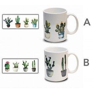 Taza de Café Cactus 300 ml, Mug Desayuno. Tazas Originales para Regalar 8x9,7 cm