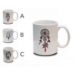Taza de Café Atrapasueños 300 ml, Mug Desayuno Cerámica. Tazas Originales para Regalar 8x9,7 cm