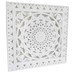 Retablo/Mural de Madera Tallada, para Decoración de Pared, Color Blanco Roto, Etnico, para Salón 50X1,5 X50cm - Hogar y Más