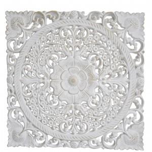 Retablo/Mural de Madera Tallada, para Decoración Cuadrada de Pared, Color Blanco, Etnico, para Salón 40X1,5 X40cm - Hogar y Más