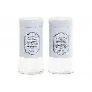 Salt shaker Kitchen White Set 2, salt cellars with Original Glass Lid. Storage of Spices 5X5X11 cm
