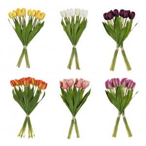 Tulipanes Artificiales Decoración Jarrones Set de 2, Flores Decorativas de Tela. Tulipán Ramo de Flores Bodas 15x40 cm