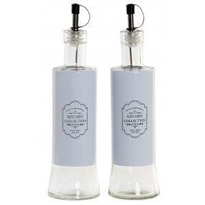 Aceitera y Vinagrera Cristal para Cocina en Set 2, Diseño Vintage 350 ml. Aceiteras y Vinagreras Originales 6,5X6,5X24,5 cm