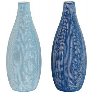 Vases Decorative Modern, Vase Blue Striped Stoneware, Decoration Seafaring 11x11x30,5cm - Home and More