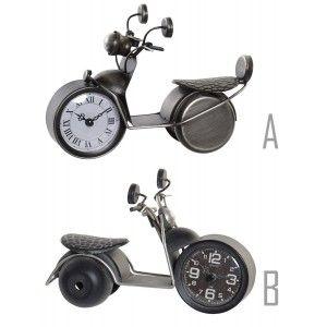Reloj Sobremesa Analogico de Metal, Diseño de Moto Vintage, Figura Decorativa Moto, Estilo Vintage/Decorativo 24x13x16,5cm