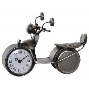 Clock Desktop Analog of Metal, Design of Bike Vintage, Figure Decorative Motorbike, Vintage/Decorative 24x13x16,5cm