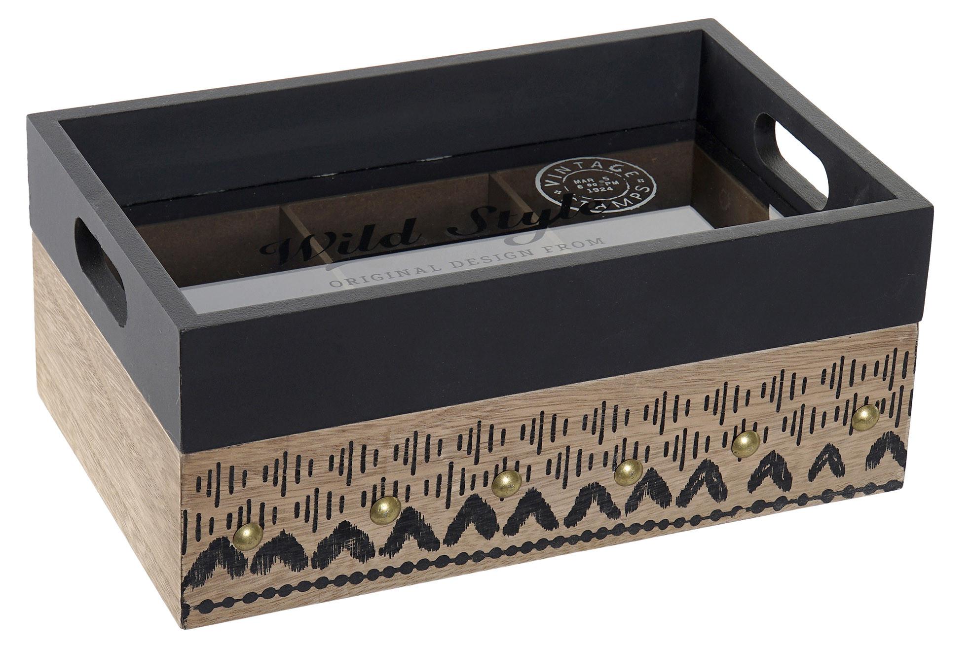 Bandeja Caja Infusiones y Té de Madera con 6 Compartimentos. Set de 2 Almacenaje de Cocina Vintage 24X15X10 cm
