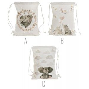 Backpack Canvas Ropes Cotton with Design of Elephant, Bags of Ropes to a Man/Woman 28X1X36cm - Home and More