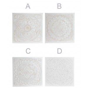 Mandala Decoración de Pared, Retablo Pared Blanco. Mural Decorativo Grande de Madera 60X60X1,5 cm