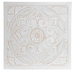 Mandala Wall Decoration, Reredos Wall White. Wall Decorative Large Wood 60X60X1,5 cm