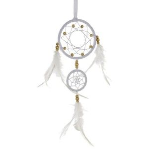 Dream catcher Small Pendant, made in Suede and Feathers, White. Ethnic design, with Bohemian style, 10,3x1x35cm
