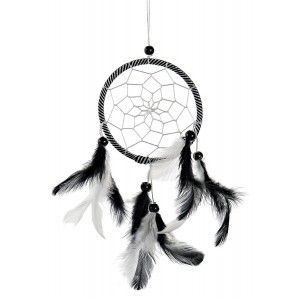 Dream catcher Small Pendant, made of Cotton and Feathers, is Black in colour. Ethnic design, with Bohemian style, 10x1x29cm