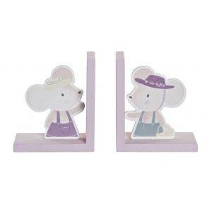 Sujeta-Libros Infantil de Ratones, Figura Decorativa de Madera. Ratón Soporte para Libros 12,5X9,5X14,5 cm
