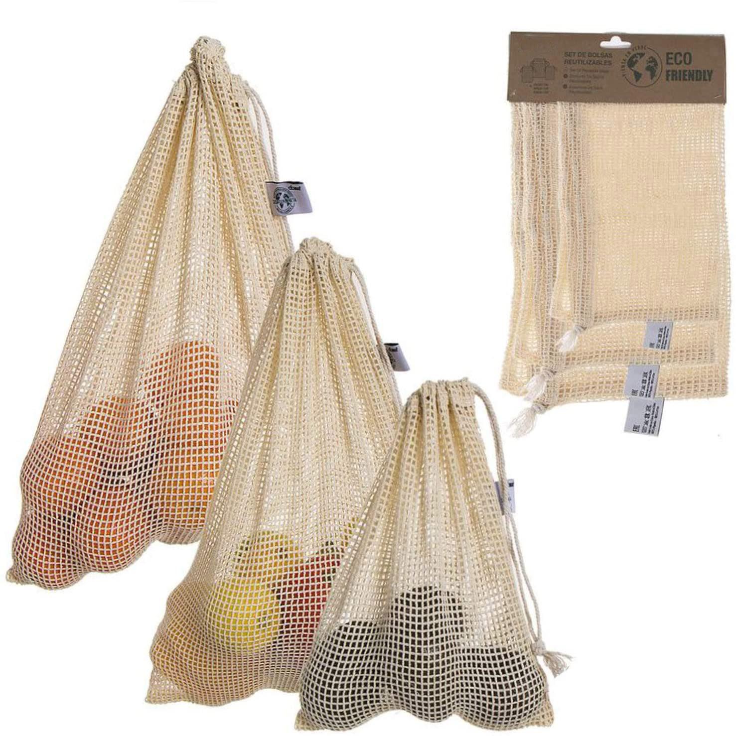 Bolsa Compra Reutilizable, Juego de 3 Bolsas de Malla Ecológica, 100% Algodón, Bolsas Portalimentos. 25x20cm/30x25cm/40x30cm